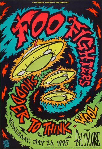 Foo Fighters Vintage Concert Poster from Fillmore Auditorium, Jul 1995 at Wolfgang's - Foo Fighters Poster – Rock posters, concert posters, and vintage posters from the Fillmore, Fillm - Poster Art, Kunst Poster, Design Poster, Poster Prints, Gig Poster, Poster Ideas, Graphic Design, Foo Fighters Poster, Poster Festival