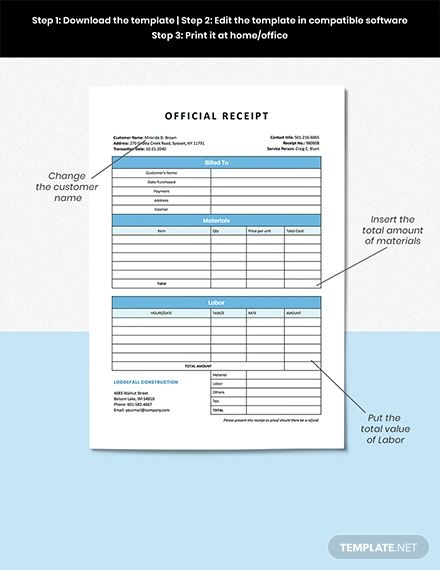 Construction Services Receipt Template Word Excel Pages Numbers Google Doc Google Sheets Receipt Template Construction Services Templates