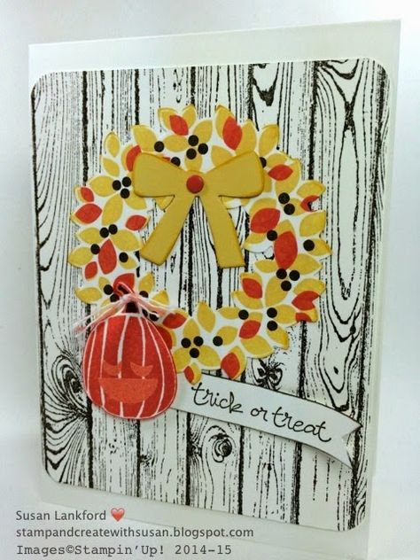 Stampin' Up! ... handmade Halloween card fromStamp and Create With Susan ... like the bold look of the black woodgrain stamped on white ... Woundrous Wreath stamped in Autumn colors and black berries ... like it!