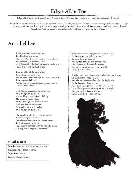 Edgar Allan Poe Annabel Lee Worksheet Education Com Ingles