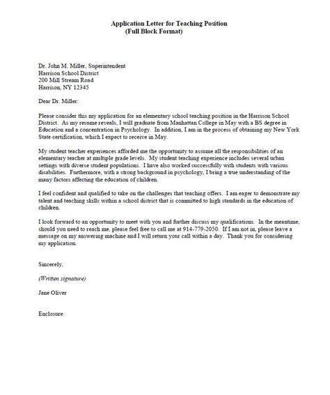 Application Letter Teaching Teacher Example work Pinterest - teaching resignation letter