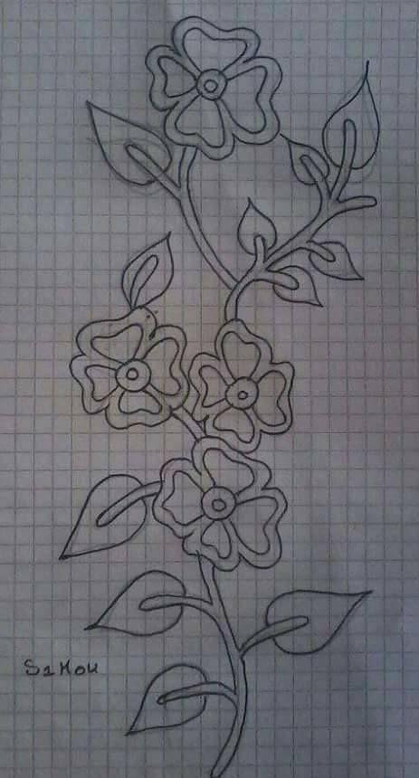 Flores Drawing Bordado Bordado Livre And Bordado Bordados