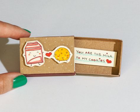 Unique valentine gift - Funny Love Card- Milk Cookie Card Please read reviews of our products on our old shop here: shop3xu.etsy.com This listing is for one matchbox. This is a great alternative to a Anniversary card. Surprise your loved ones with a cute private message hidden in these
