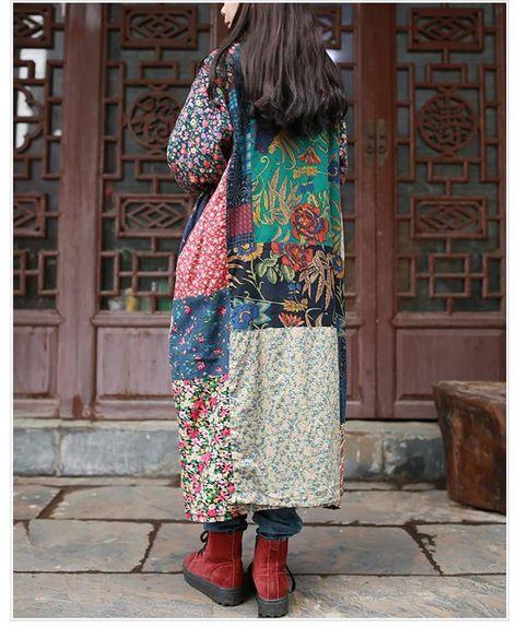 Women's Coat Loose Vintage Casual Long Windbreaker Cotton Linen Patchwork for Spring