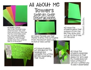 ALL About Me Index Card House   Classroom ideas   First week