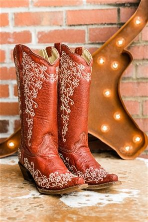 Red Beige Embroidery By Corral Red Velvet Wedding Boot In 2019