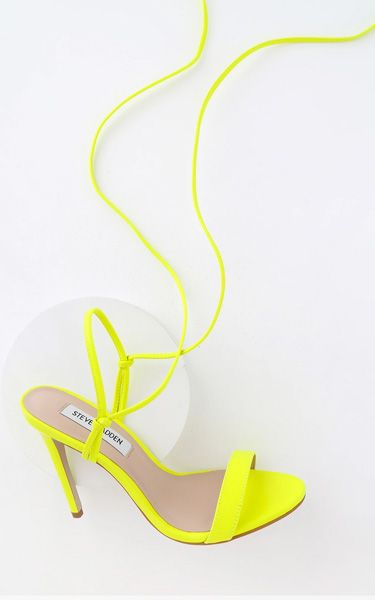 778b2a74bf0 Steve Madden Level Lime Leather Lace-Up High Heel Sandals   Women's ...