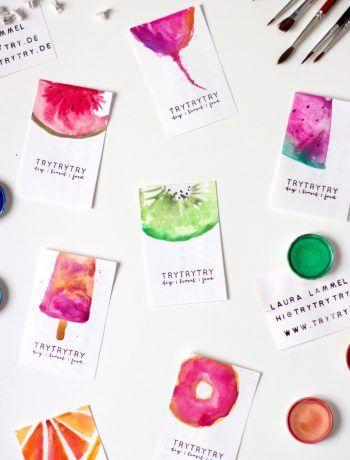 Visitenkarten Selbst Gestalten Aquarell Ideen Gestalten
