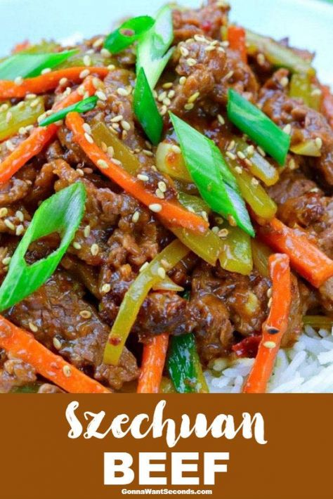 Our EasySzechuan Beefwill take care of your Chinese food takeout cravings without you even venturing out of your pajamas! With a little-advanced prep this recipe can be on your dinner table in just over 30 minutes. A quick marinade tenderizes the beef whisk up our spicy sauce then a quick stir fry and you have a dish that's restaurant quality! #gonnawantseconds #szechuanbeef #beefrecipes #chinesefood #takeout #quickandeasy #asianrecipes #stirfry #easydinner #spicyfood #paleodinner