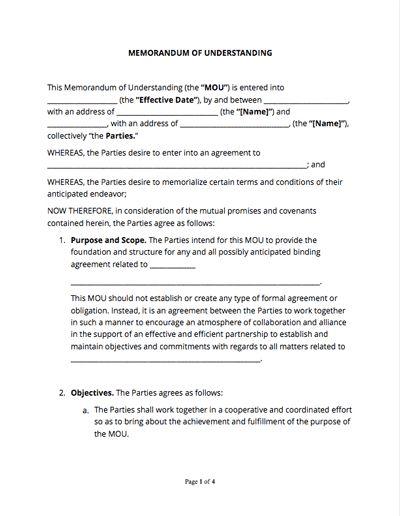 Memorandum Of Understanding Form Mou Template With Sample Mou Form Memorandum Free Basic Templates Templates Printable Free