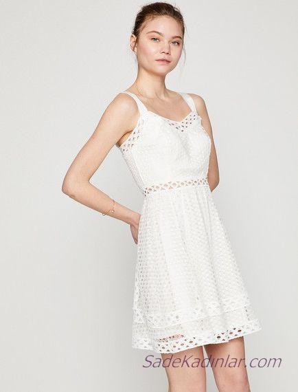 Koton Beyaz Elbise Modelleri Kisa Askili Kafes Islemeli Elbise Modelleri The Dress Elbise