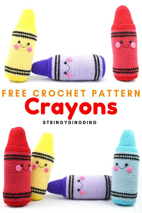 Make yourself some happy crayons with this free crochet pattern! Visit my site to make it now. Make yourself some happy crayons with this free crochet pattern! Visit my site to make it now. Crochet Diy, Crochet Baby Toys, Crochet Food, Crochet Toys Patterns, Crochet Patterns Amigurumi, Crochet Animals, Stuffed Toys Patterns, Crochet Crafts, Crochet Dolls