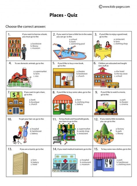 Places Quiz Worksheet Learning English For Kids English Teaching Materials English Activities Places of city worksheet