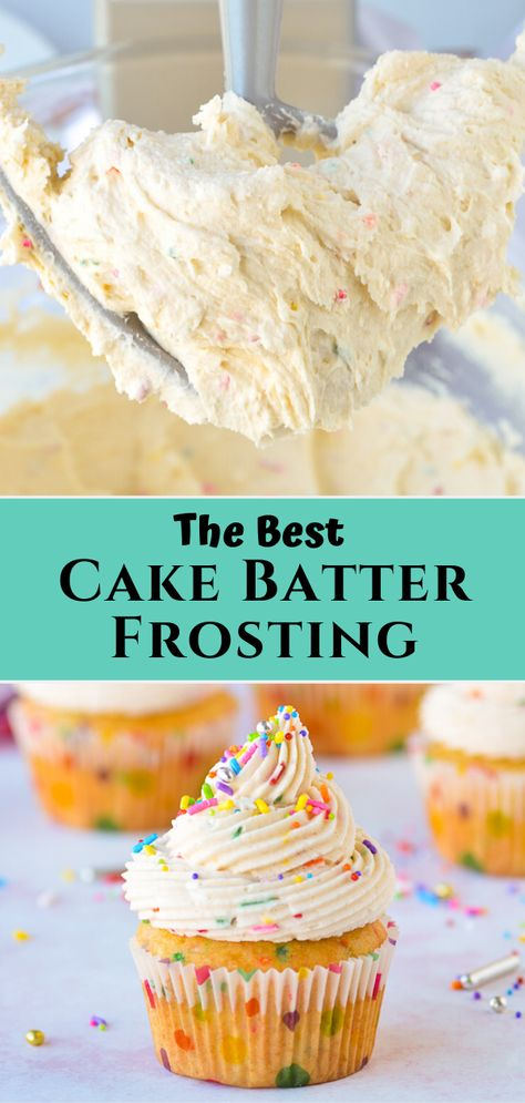 This cake batter frosting recipe is a. This cake batter frosting recipe is a buttercream frosting flavored with boxed cake mix and sprinkles making it a perfect funfetti frosting for birthday cakes and cupcakes! Köstliche Desserts, Delicious Desserts, Dessert Recipes, Desserts For Birthdays, Food Cakes, Cupcake Cakes, Cake Mix Cupcakes, Mocha Cupcakes, Strawberry Cupcakes
