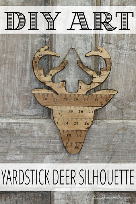 DIY Yardstick deer silhouette made from vintage yardsticks /v