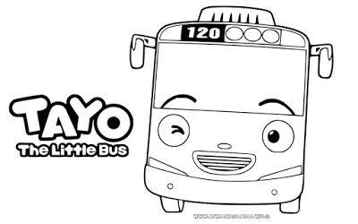 Gambar Mewarnai Tayo The Little Bus Gambar Warna Buku Mewarnai