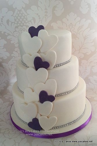 Three Tier Wedding Cake with Diamante and Cadburys Purple Hearts | Flickr - Photo Sharing!