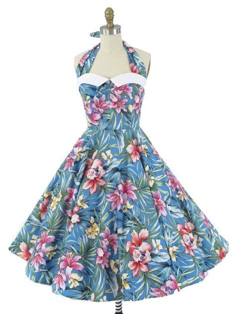 4d97f25f1d Blue Hawaiian Coquette Halter Dress w White Pique Collar