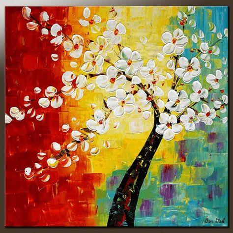 Fiore pittura, arte astratta, pittura a olio, arte della parete, piccolo dipinto, tela, pittura originale, pittura murale, arte incorniciata