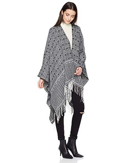 Beautiful Nomad Wrap Shawl Poncho Cape for Women (Maroon Triangle