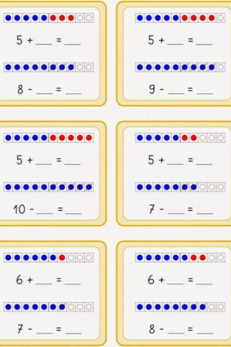 Learning Numbers Preschool, Kindergarten Math Activities, Montessori Math, Kindergarten Math Worksheets, Kindergarten Reading, Worksheets For Kids, Teaching Math, Early Math, Math Addition