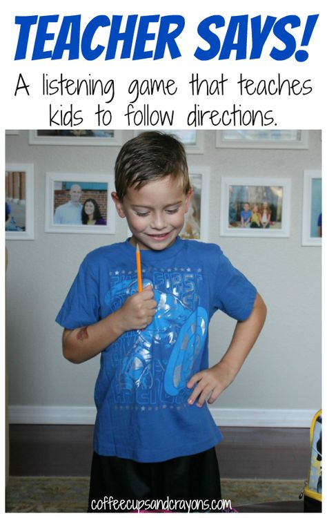 Following Directions and Listening Game: Teacher Says! from Coffee Cups and Crayons