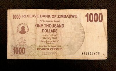Zimbabwe 1000 Dollars 2007 P 48 Bearer Cheque World Currency Ebay Bearer Cheque Bank Notes Dollar Banknote