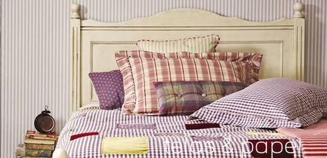 me encanta la ropa de cama y almohadones a rayas, lunares y cuadrillé