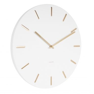 Charm Metal Wall Clock With Gold Markers White Wall Clock Metal Wall Clock Wall Clocks Uk