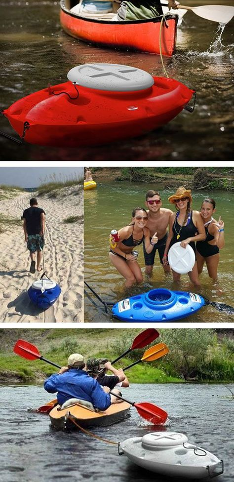 """A towable cooler! It looks like a mini kayak. But unscrew the lid and you're greeted by ice, drinks, or food in a chamber made to keep things cold. The CreekKooler """"navigates behind your kayak or canoe"""" and gives quick access to beverages, food Canoe Camping, Canoe And Kayak, Camping Gear, Camping Hacks, Camping Equipment, Kayak Boats, Backpacking Meals, Camping Hammock, Ultralight Backpacking"""