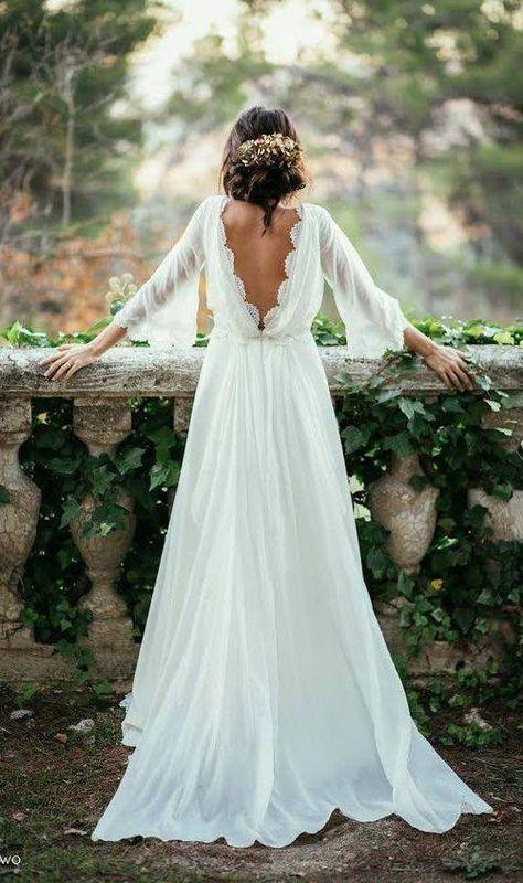 White Beach Wedding Dresses, Boho Wedding Dress With Sleeves, Long Gown For Wedding, Cheap Bridal Dresses, Western Wedding Dresses, Backless Wedding, Elegant Wedding Dress, Cheap Wedding Dress, Sexy Dresses