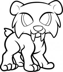 How To Draw A Sabertooth For Kids By Dawn Cat Coloring Page