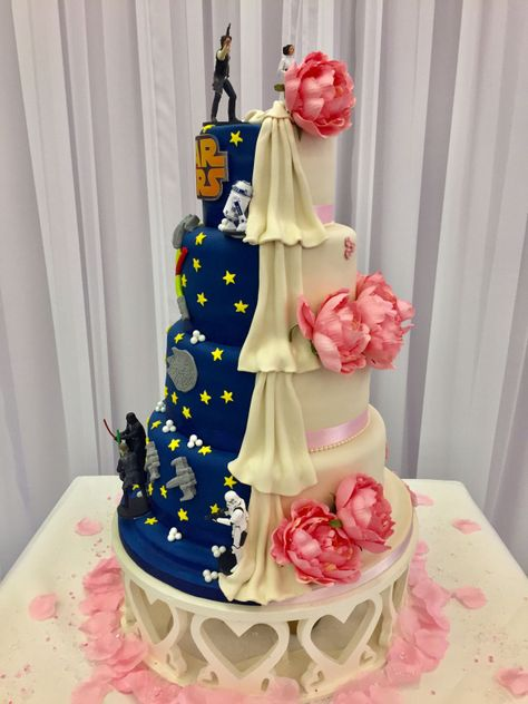 Star Wars themed dual wedding cake by me scrumcious cake couture #howtogethimtopropose