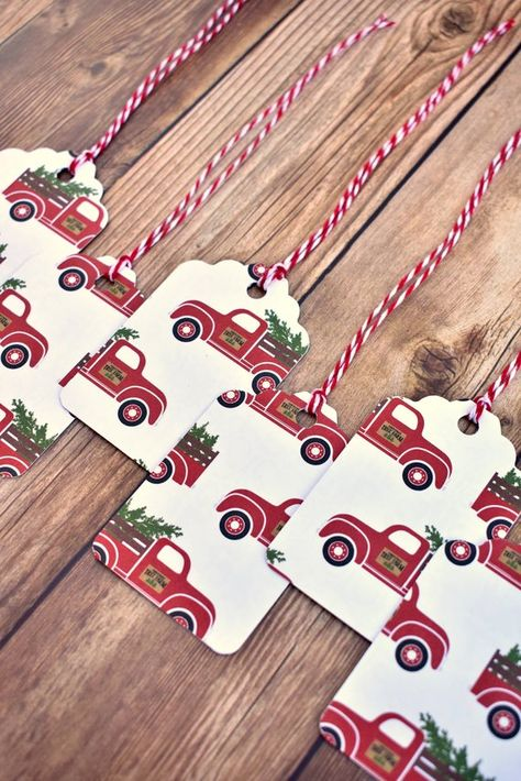 These handmade Christmas gift tags are the perfect addition to your presents to spread Christmas cheer. Each set of six has red truck Christmas card stock with a Christmas tree in each truck. They are made with two layers of thick, premium quality card stock to make the highest quality tags you can find. Each one is hand stamped on the back with