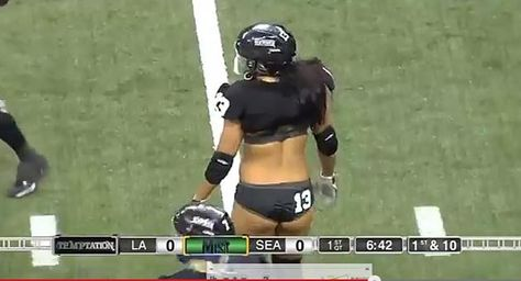 A Lingerie Football League Player Shakes Her Booty on the