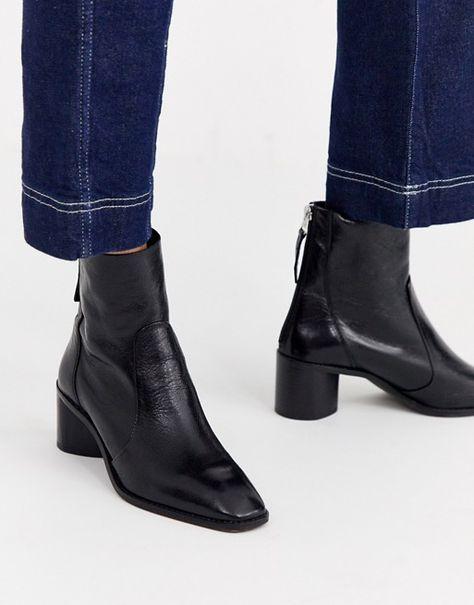 Office Achillies Inlined Leather Kitten Heel Ankle Boot Asos Kitten Heel Ankle Boots Mid Heel Ankle Boots Ankle Boot