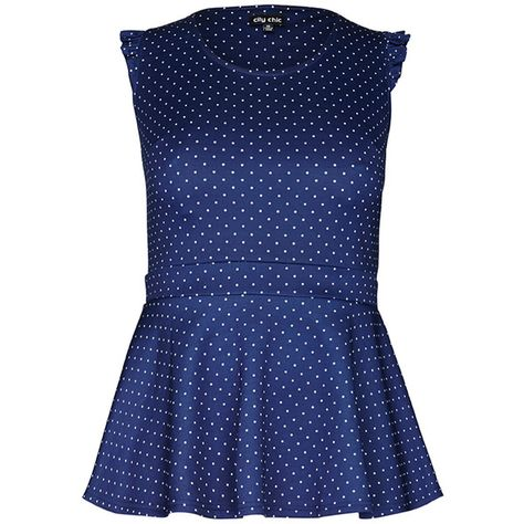 City Chic Mini Spot Peplum Top (2,095 THB) ❤ liked on Polyvore featuring plus size fashion, plus size clothing, plus size tops, polka dot top, flounce top, mini top, peplum tops and blue top