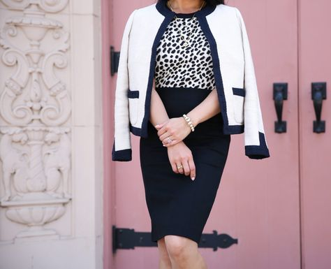 66d65d18987 leopard sweater textured tweed open jacket black pencil skirt block heel  sandals work outfit