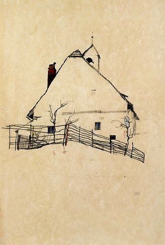 Egon Schiele. Shiele's architecture paintings/drawings communicate such character in the use of colour, composition and quality.  This house appears so lonely, spaced bleakly within the frame.