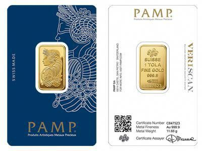 Pamp Suisse Gold Bullion One Tola Bar Goldcoins Gold Bullion Gold Gold Investments