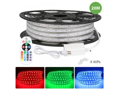 Le 65ft Rgb Led Strip Lights With Remote 120 Volt 140w 1400 Smd 5050 Leds Waterproof Color Changing Etl Listed Indoor Outdoor Led Rope Light For Kitchen Led Strip Lighting