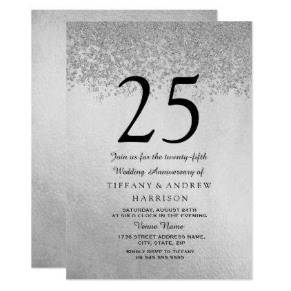 Silver Glitter 25th Wedding Anniversary Invitation Zazzle
