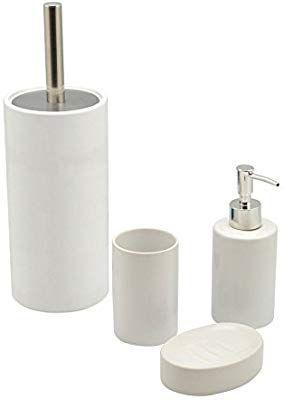 Harbour Housewares 4 Piece Bathroom Accessories Set Soap Dispenser Dish Toothbrush Holder Toilet Brush White Bathroom Accessories Sets Toilet Brush Bathroom Accessories