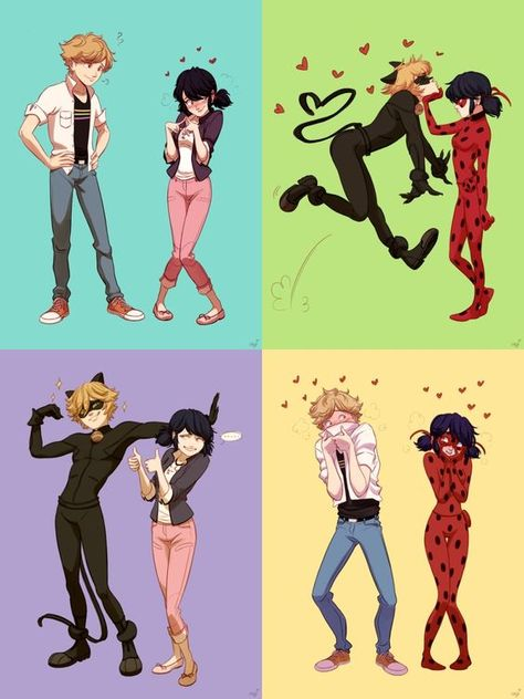 Marinette and Adrien versus Ladybug and Chat Noir. I ship it! Best OTP out there in Otaku World