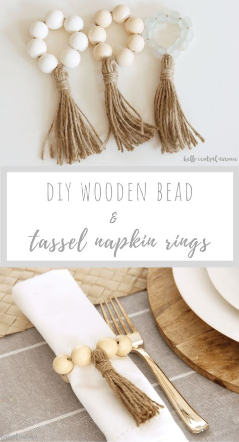 Wooden Bead Napkin Rings - Hello Central Avenue Create a timeless look for your tablescape year round by making these wooden bead napkin rings! This DIY project will add style and dimension to any table! Wood Bead Garland, Diy Garland, Beaded Garland, Wood Art Design, Diy Gifts For Christmas, Diy Spring, Beaded Napkin Rings, Wooden Napkin Rings, Diy Wedding Napkin Rings