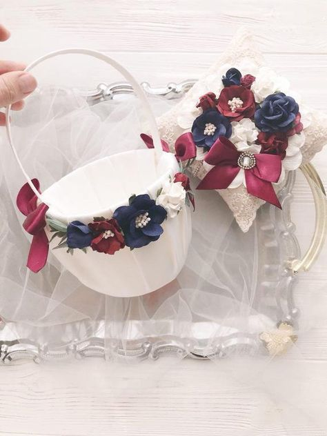 Flower Girl Basket And Ring Bearer Pillow Set Navy Blue and Burgundy Ring Pillow Lace Maroon . : Flower Girl Basket And Ring Bearer Pillow Set Navy Blue and Burgundy Ring Pillow Lace Maroon Ring Bearer Pillow Fall Wedding Decor Vintage, Navy And Burgundy Wedding, Maroon Wedding, Burgundy Decor, Blue Wedding Rings, Ring Bearer Pillows, Rustic Wedding Decorations, Wedding Centerpieces, Ring Pillow Wedding, Flower Girl Basket