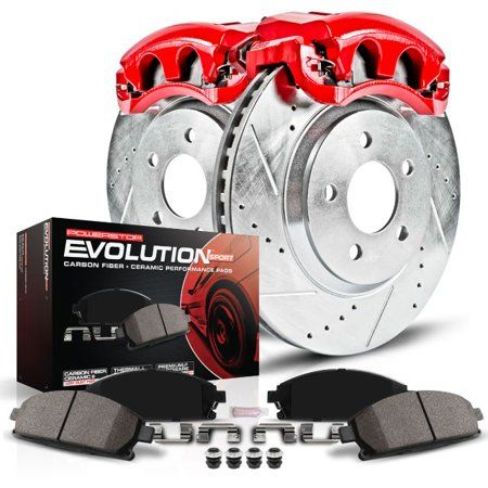 80470 FRONTS Power Sport Cross Drilled Slotted Brake Rotors and Ceramic Brake Pads Kit