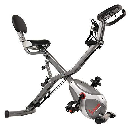 Sunny Health Fitness Foldable Semi Recumbent Magnetic Upright Exercise Bike W Pulse Rate Monitoring Adjustable Arm Resistance Bands And Lcd Monitor Sf B2710 Upright Exercise Bike Indoor Cycling Bike Workout Machines