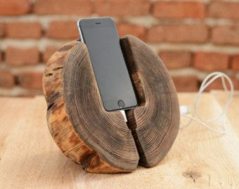 Beautiful and unique iPhone station with unusual shape. Handmade from