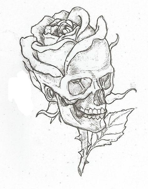 bilder-selber-malen-schädel-totenkopf-mit-großer-rose-tattoo-ideen